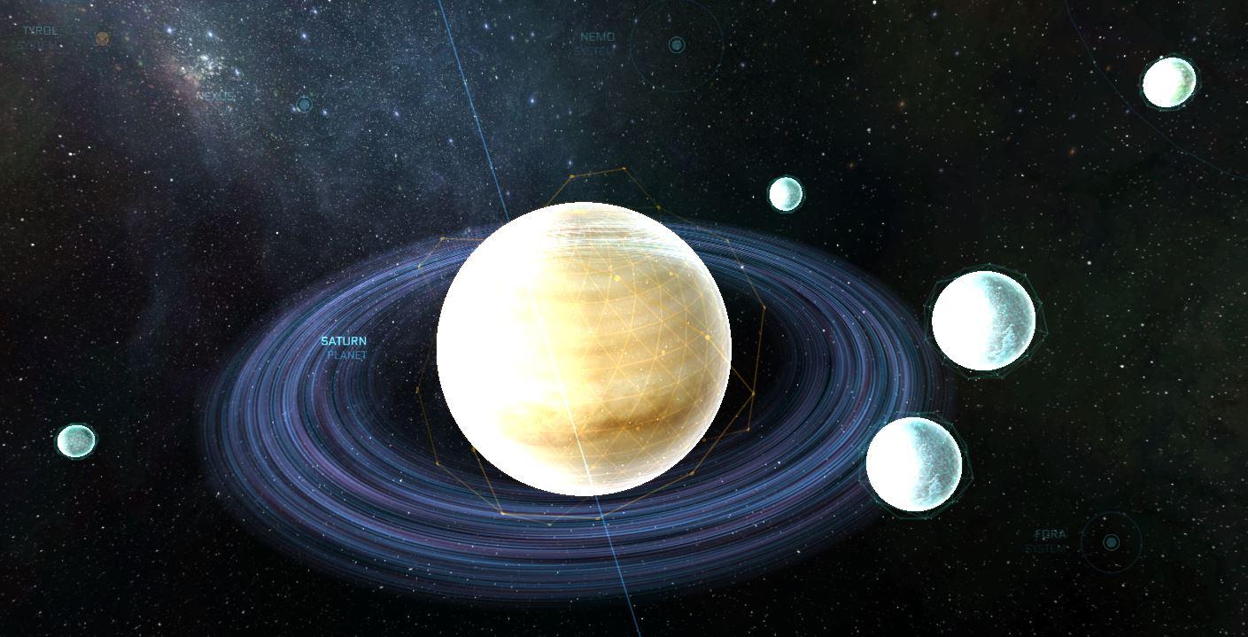 Saturn mit allen Monden