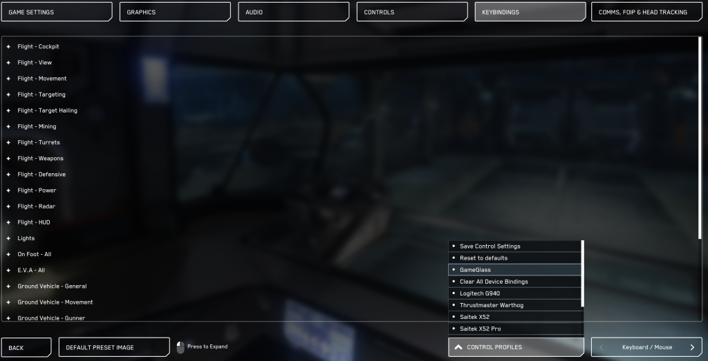 GameGlass Settings 3049